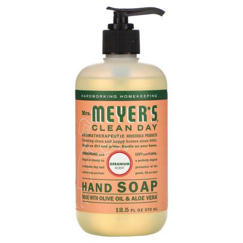 Mrs. Meyers Clean Day, Жидкое мыло для рук, с запахом герани, 12.5 жидких унций (370 мл)
