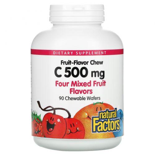 Natural Factors, Витамин C, смесь 4 фруктовых вкусов, 500 мг, 90 жевательных пластинок