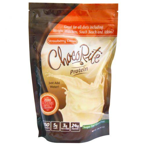 HealthSmart Foods, Inc., Белок ЧокоРайт, клубничный крем 14,7 унции (418 г)