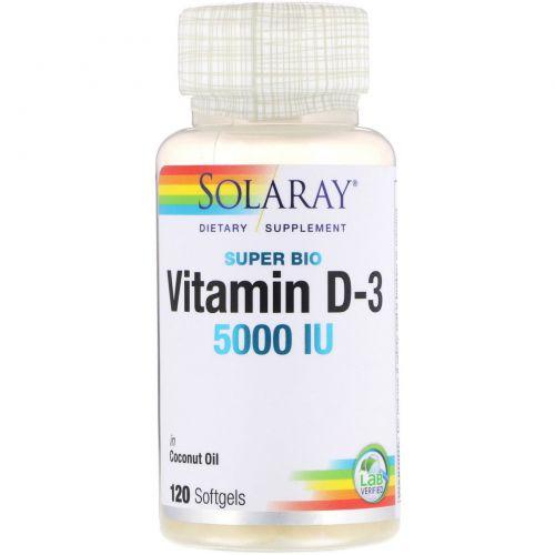 Solaray, Супер био витамин D-3, 5 000 МЕ, 120 мягких таблеток