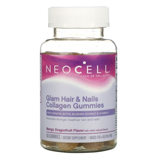 Neocell, Glam Hair & Nails Collagen, Mango Dragonfruit, 60 Gummies