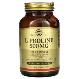 Solgar, L-пролин, 500 мг, 100 растительных капсул