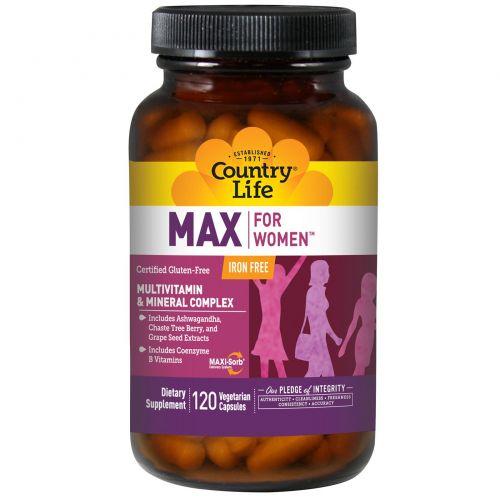 Country Life, Max, для женщин, мультивитаминный и минеральный комплекс, не содержит железа, 120 вегетарианских капсул