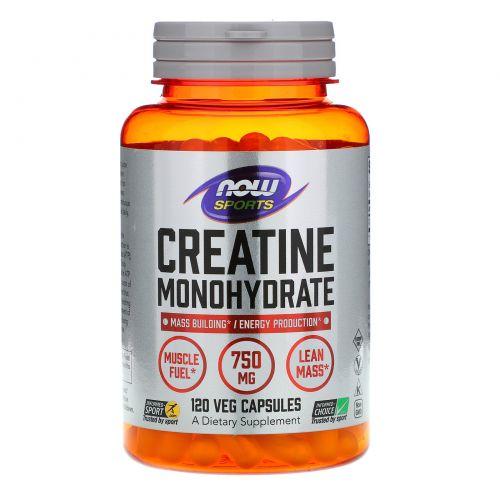 Now Foods, Sports, Моногидрат креатина, 750 мг, 120 капсул