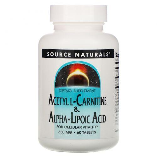 Source Naturals, Ацетил-L-карнитин и альфа-липоевая кислота, 650 мг, 60 таблеток