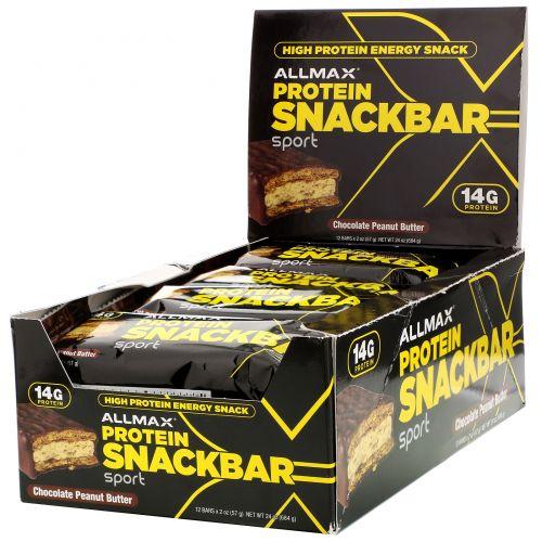 MuscleMaxx, Протеиновый батончики с высоким содержанием белка, шоколад-арахисовое масло, 12 шт, 2 унции (57 г)