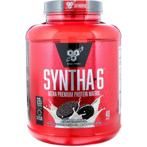 BSN, Syntha-6, заменитель пищи / добавка, печенье и сливки, 5,04 фунта (2,29 кг)