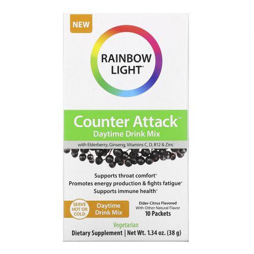 Rainbow Light, Counter Attack, Daytime Drink Mix with Elderberry, Ginseng, Vitamins C, B12 & Zinc, Elder-Citrus, 10 Packets, 0.1 oz (3.8 g) Each