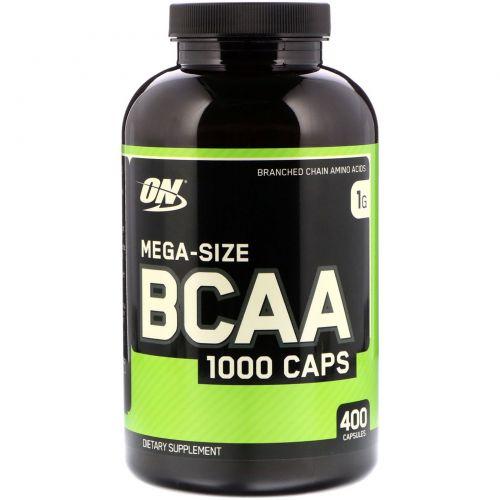 Optimum Nutrition, Капсулы BCAA, большой размер, 1000 мг, 400 капсул