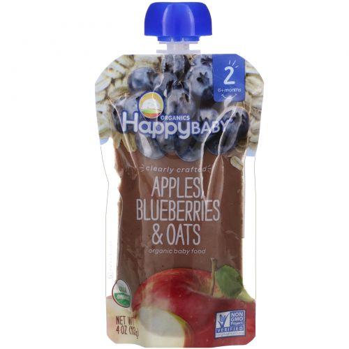 Nurture Inc. (Happy Baby), Органическое детское питание, 2-й этап, 6+ месяцев, яблоко, голубика и овес, 4,0 унции(113 г)