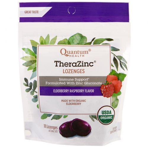 Quantum Health, Леденцы TheraZinc, вкус бузины и малины, 18 леденцов