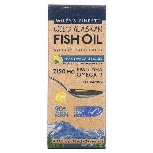 Wiley's Finest, Аляскинский рыбий жир,ПикОмега-3, жидкий, натуральный лимонный вкус, 2150 мг, 4.23 жид.унции(125 мл)