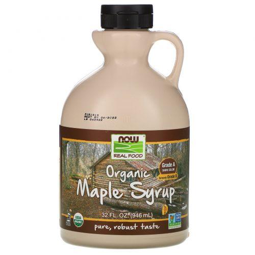 Now Foods, Real Food, органический кленовый сироп, класс А, темного цвета, 946мл (32 унции)