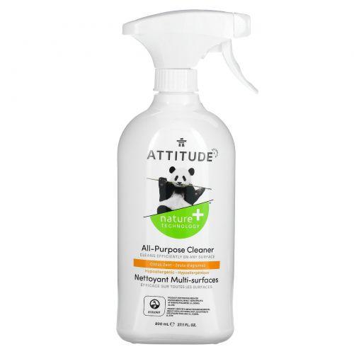 ATTITUDE, Универсальный очиститель, цитрусовая цедра, 27,1 жидких унций (800 мл)