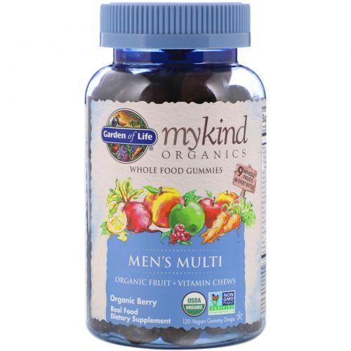 Garden of Life, Mykind Organics, поливитамины для мужчин, органическая ягода, 120 жевательных конфет