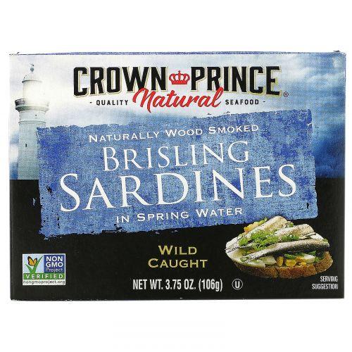 Crown Prince Natural, Шпроты, сардины в родниковой воде, 3.75 унций (106 г)
