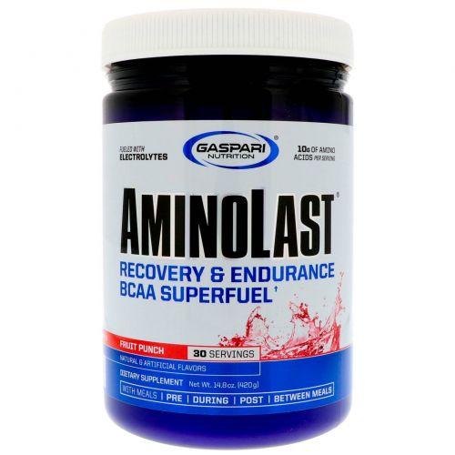 Gaspari Nutrition, Aminolast, супер-BCAA для восстановления и выносливости, фруктовый пунш, 420 г (14,8 унций)