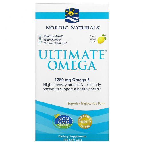 Nordic Naturals, Ultimate Omega, вкус лимона, 1,280 мг, 180 мягких капсул