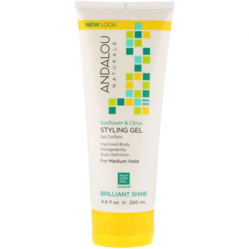Andalou Naturals, Styling Gel, Brilliant Shine, Medium Hold, Sunflower & Citrus, 6.8 fl oz (200 ml)
