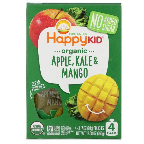 Nurture Inc. (Happy Baby), Happy Squeeze, органические суперпродукты, Twist, органические яблоко, капуста и манго, 4 упаковки, 3,17 унции (90 г) в каждой