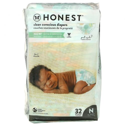 The Honest Company, Honest Diapers, Super-Soft Liner, Newborn, Space Travel, Up to 10 Pounds, 32 Diapers