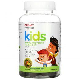 GNC, Milestones, жевательные мультивитамины для детей 2–12лет, ассорти из натуральных фруктов, 120жевательных конфет