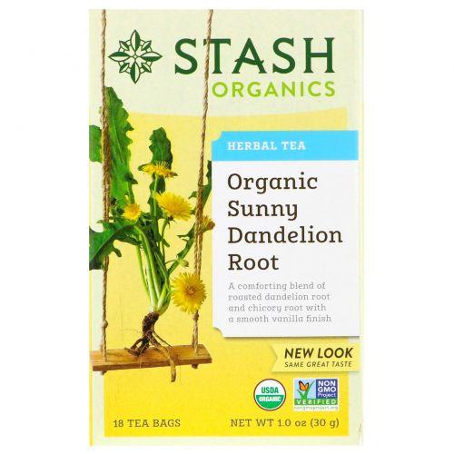 Stash Tea, Травяной чай, органический корень солнечного одуванчика, 18 чайных пакетиков, 1,0 унц. (30 г)