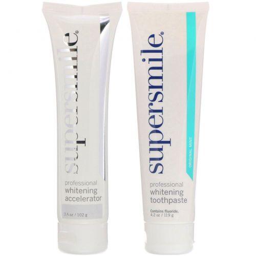 Supersmile, Профессиональная система отбеливания, зубная паста и средство для ускорения отбеливания, «Оригинальная мята», 221г (7,8унций)