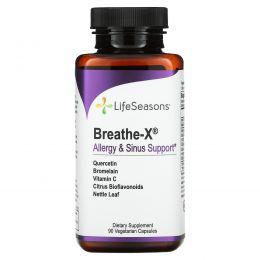 LifeSeasons, Средство от аллергии и для носовых пазух Breathe-X, 90 вегетарианских капсул