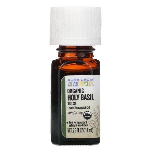 Aura Cacia, Pure Essential Oil, Organic Holy Basil Tulsi, .25 fl oz (7.4 ml)