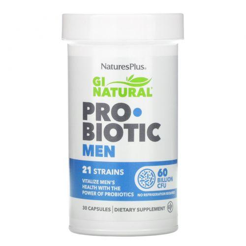 Nature's Plus, GI Natural Probiotic Men, 60 Billion CFU, 30 Capsules