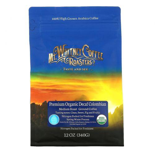 Mt. Whitney Coffee Roasters, Premium Organic Decaf  Colombian, Medium Roast Whole Bean Coffee , 12 oz (340 g)