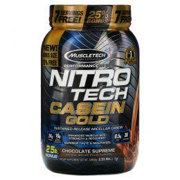 Muscletech, Performance Series, Nitro Tech Casein Gold, Chocolate Supreme, 2.53 lbs (1.15 kg)