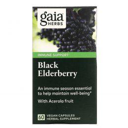 Gaia Herbs, Черная бузина, 60 вегетарианских мягких фитокапсул