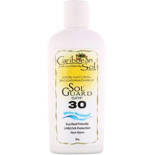 Caribbean Solutions, SolGuard SPF 30, водостойкий, 6 унц.