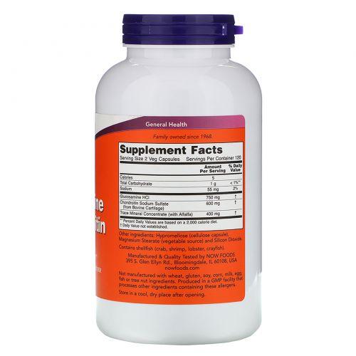Now Foods, Глюкозамин и хондроитин, 240 капсул