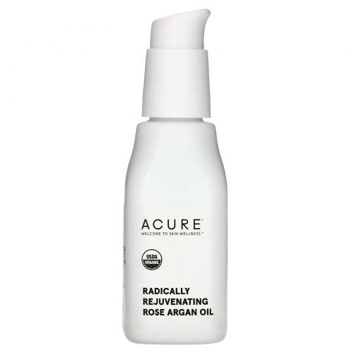 Acure Organics, Оказывает радикальное омолаживающее действие, розовое и аргановое масла, 1 ж. унц. (30 мл)