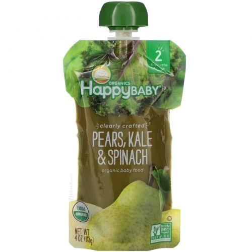 Nurture Inc. (Happy Baby), Органическое детское питание, 2-й этап, 6+ месяцев, груша, капуста и шпинат, 4,0 унции(113 г)