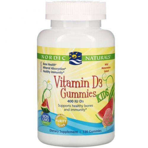 Nordic Naturals, Vitamin D3 Gummies KIDS, Wild Watermelon Splash, 400 IU, 120 Gummies