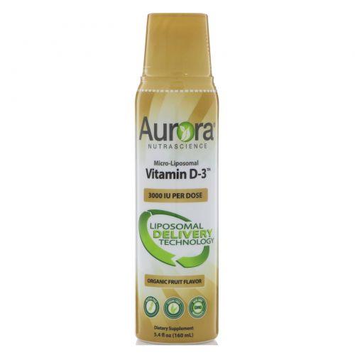Aurora Nutrascience, Микро-липосомный витамин D3, 3000 МЕ, 5,4 ж. унц.(160 мл)