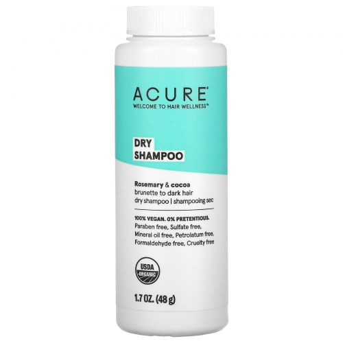 Acure Organics, Сухой шампунь, для темных волос, 1,7 унц. (48 г)