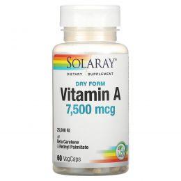 Solaray, Сухой витамин A, 25000МЕ, 60 капсул