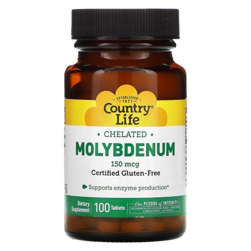 Country Life, Молибден, хелатный, 150 мкг, 100 таблеток