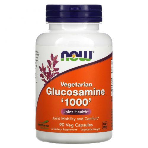 Now Foods, Глюкозамин '1000', вегетарианский, 90 капсул на растительной основе