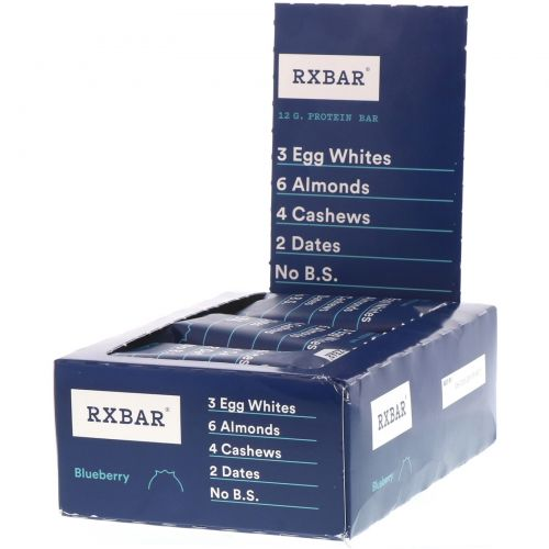 RXBAR, Protein Bars, Blueberry, 12 Bars, 1.83 oz (52 g) Each