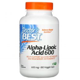 Doctor's Best, Альфа-липоевая кислота (Best Alpha-Lipoic Acid), 600 мг, 180 растительных капсул