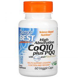 Doctor's Best, Хорошо усваиваемый кофермент Q10, 100 мг, плюс пирролохинохинон, 20 мг, с PureQQ и BioPERINE, 60 капсул в растительной оболочке