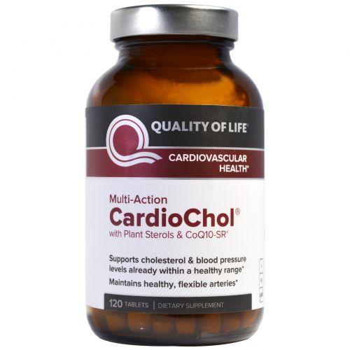 Quality of Life Labs, CardioChol с фитостеролами и CoQ10-SR, мультидействие, 120 таблеток