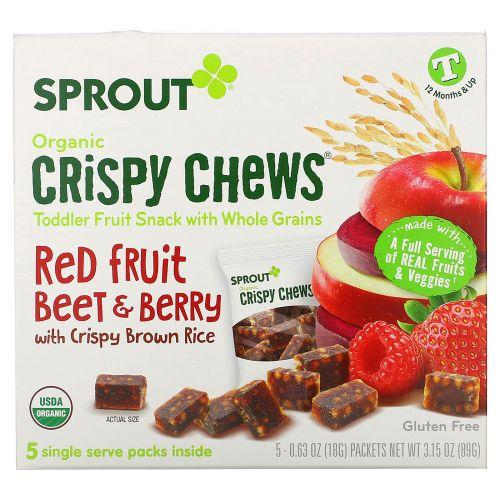 Sprout Organic, Хрустящие тянучки, красные ягоды и свекла, 5 пакетиков по 0,63 унции (18 г)