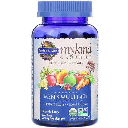 Garden of Life, Mykind Organics, мужской мульти 40+, органические ягоды, 120 жевательных драже